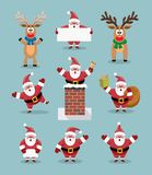 Collection of cute cartoons of santa claus and  reindeer. vector  Stock Image