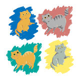 Collection of cute cats for design and printing on t-shirts, sti Royalty Free Stock Photo