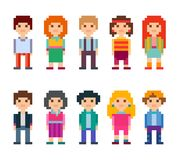 Collection of cute characters. Pixel style. Colorful set of pixel art style characters. Men and women standing on white background. Vector illustration Royalty Free Stock Photos