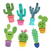 Happy Cactus Plant Characters. A collection of cute and cheerful cactus plant characters in colourful pots. Vector illustration Stock Photos