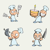Collection of cute chef men Stock Photography