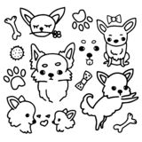 Collection of cute chihuahua with accessories, doodle illustration in simple style on white background. Set of cartoon royalty free illustration