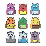 Collection of cute children school backpack. Royalty Free Stock Images