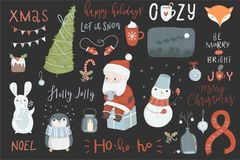 Collection of cute Christmas illustrations Royalty Free Stock Photos