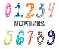 Collection of cute colorful numbers. Numbers set Royalty Free Stock Image