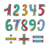 Hand drawn sketched and doodled kids numbers isolated on white background. Collection of cute colorful numbers from zero to nine and math symbols. Vector Royalty Free Illustration