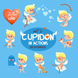 Collection of cute cupids in action. Stock Image