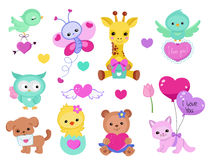 Collection of cute cute animals for Valentine`s Day, weddings, congratulations, declarations of love.