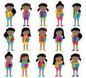 Collection of Cute and Diverse Vector Format Female Students or Graduates. Some of the Children and Kids have Backpacks, Books and Graduation Caps Royalty Free Stock Photography