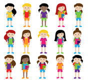 Collection of Cute and Diverse Vector Format Female Students or Graduates. Some of the Children and Kids have Backpacks, Books and Graduation Caps Royalty Free Stock Images