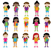 Collection of Cute and Diverse Vector Format Female Students or Graduates. Some of the Children and Kids have Backpacks, Books and Graduation Caps Stock Photography