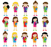 Collection of Cute and Diverse Vector Format Female Students or Graduates. Some of the Children and Kids have Backpacks, Books and Graduation Caps Stock Photo