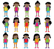 Collection of Cute and Diverse Vector Format Female Students or Graduates. Some of the Children and Kids have Backpacks, Books and Graduation Caps Royalty Free Stock Photo