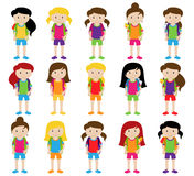 Collection of Cute and Diverse Vector Format Female Students or Graduates. Some of the Children and Kids have Backpacks, Books and Graduation Caps Stock Photos