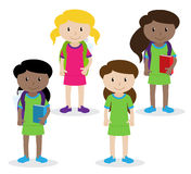 Collection of Cute and Diverse Vector Format Female Students or Graduates Royalty Free Stock Photo