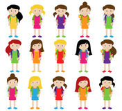 Collection of Cute and Diverse Vector Format Female Students or Graduates Royalty Free Stock Photos