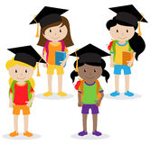 Collection of Cute and Diverse Vector Format Female Students or Graduates Royalty Free Stock Images