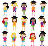 Collection of Cute and Diverse Vector Format Female Students or Graduates Stock Photos