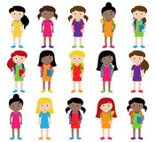 Collection of Cute and Diverse Vector Format Female Students or Graduates Royalty Free Stock Image