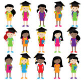 Collection of Cute and Diverse Vector Format Female Students or Graduates Stock Photography