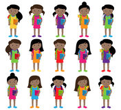 Collection of Cute and Diverse Vector Format Female Students or Graduates. Some of the Children and Kids have Backpacks, Books and Graduation Caps Stock Image