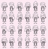 Collection of Cute and Diverse Vector Format Stick Figure Female Students. With Backpacks Stock Photos