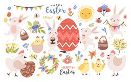 Collection of cute easter cartoon characters and spring decorative elements - bunnies, eggs, chickens, blooming flowers. Isolated on white background. Colorful stock illustration