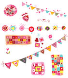 Collection of Cute Elements. Set of fun, colorful elements with a love/Valentine's Day theme, featuring lots of hearts Stock Photography