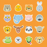 Collection of Cute Face Animal Royalty Free Stock Images