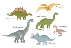 Collection of cute flat dinosaurs. Jurassic period creatures. Vector illustration isolated on white.  Stegosaurus, Pteranodon, Brontosaurus, Velociraptor vector illustration