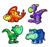 Collection of cute and fun dinosaur characters Royalty Free Stock Image