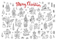 Collection of cute funny christmas and happy new year 2018 greeting congratulating sketch style doodle dogs. In black color wearing winter santa claus hats Stock Images