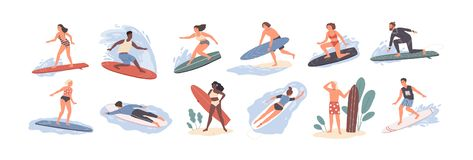 Collection of cute funny people in swimwear surfing in sea or ocean. Bundle of happy surfers in beachwear with royalty free illustration