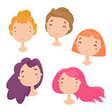 Collection of cute girls faces. Royalty Free Stock Photos