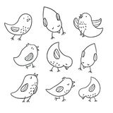 Collection of cute hand drawn bird doodles. Colorful bird collection. Collection of cute hand drawn bird doodles. Black on white vector set - Vector stock illustration