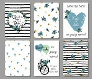 Collection of 6 cute hand drawn card templates. Save the date, b Stock Images