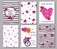 Collection of 6 cute hand drawn card templates. Save the date, b Stock Photos