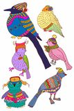 A collection of cute hand-drawn color bird doodles Stock Photography