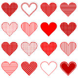 Collection of cute hearts stickers Royalty Free Stock Images