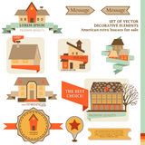 Collection of cute houses and flags Royalty Free Stock Image