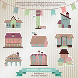 Collection of cute  houses and flags Royalty Free Stock Photography