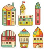 Collection of cute houses. Royalty Free Stock Photo