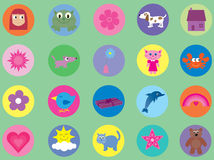 Collection of cute icons for kids - 2 Royalty Free Stock Images