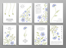 Collection of cute invitation cards with flowers for your design. Collection of cute universal cards with flowers for your design. VIP backdrop blue flowers, for Stock Images