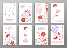 Collection of cute invitation cards with flowers for your design Stock Image
