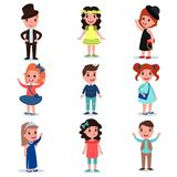 Collection of cute kids characters dressed up in stylish clothes. Fashion children wear. Cartoon boys and girl standing. Isolated on white background. Colorful royalty free illustration