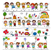 Collection of cute kids' drawings of animals, plants and celestial elements Royalty Free Stock Photos