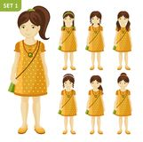 Collection of cute little girls with different hairstyles. vector illustration