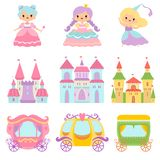 Collection of Cute Little Princesses, Magic Castles, Fairy Tale Carriages, Fantasy Kingdoms Cartoon Vector Illustration stock illustration