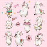 Collection Cute Llama Alpaca Vicuna Set Kawaii.